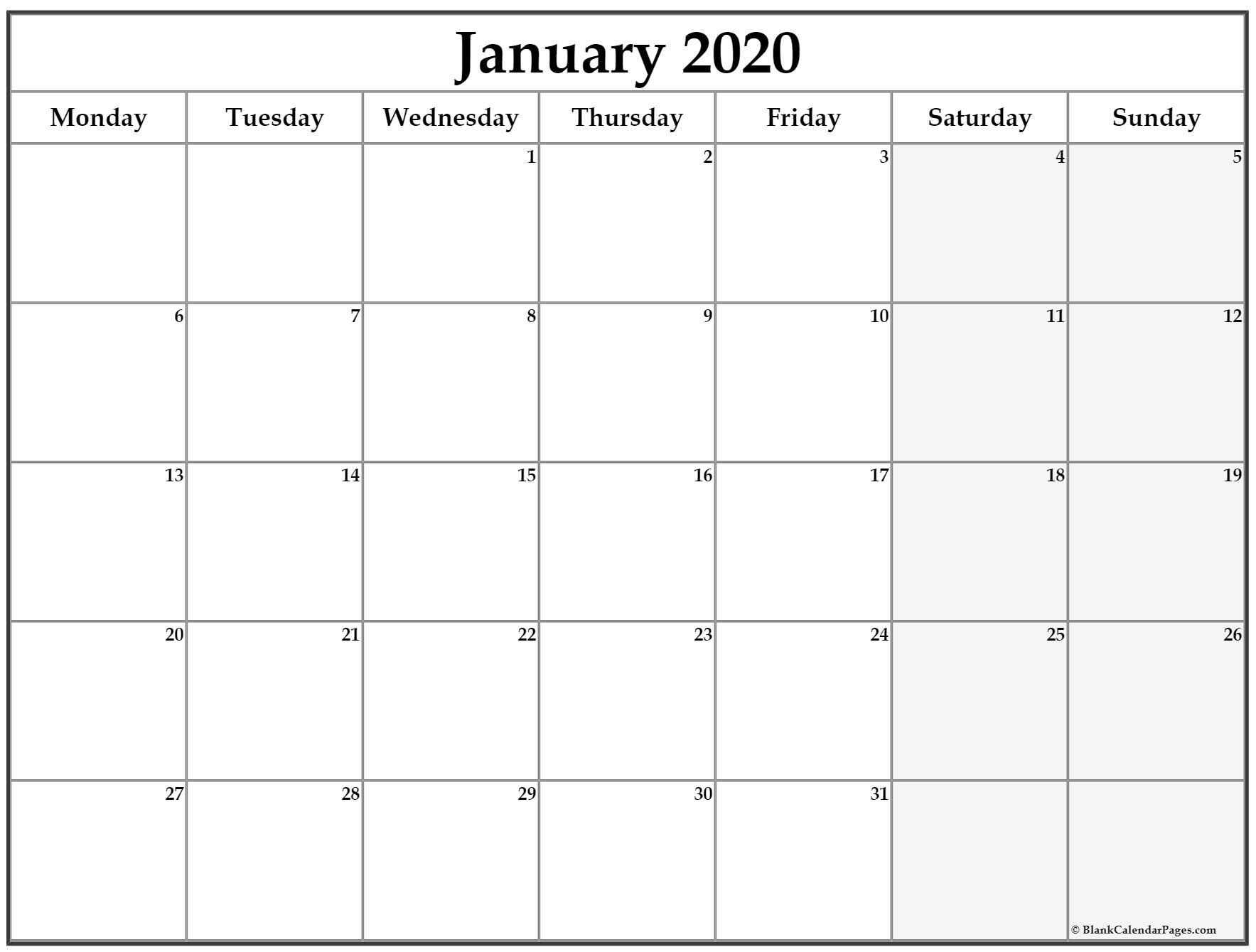 January 2020 Monday Calendar   Monday To Sunday throughout January 2020 Calendar Starting Monday