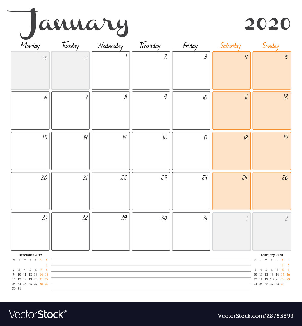 January 2020 Monthly Calendar Planner Printable with regard to Calander January 2020