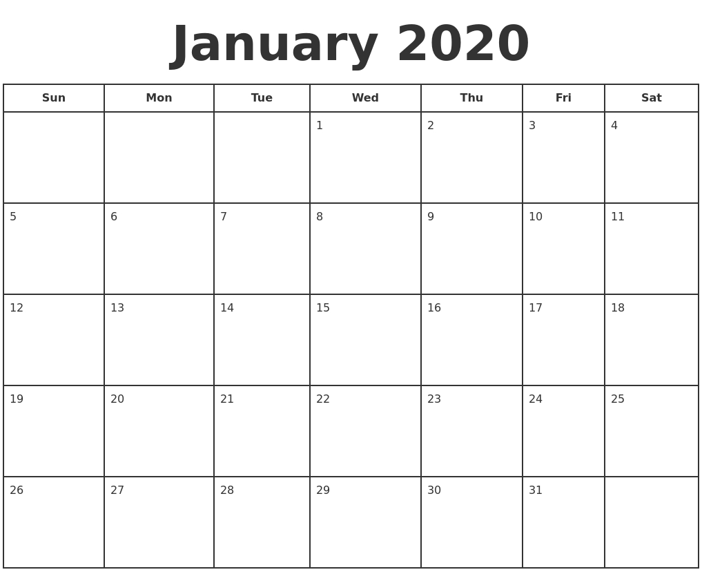 January 2020 Print A Calendar throughout 123 Calendar January 2020