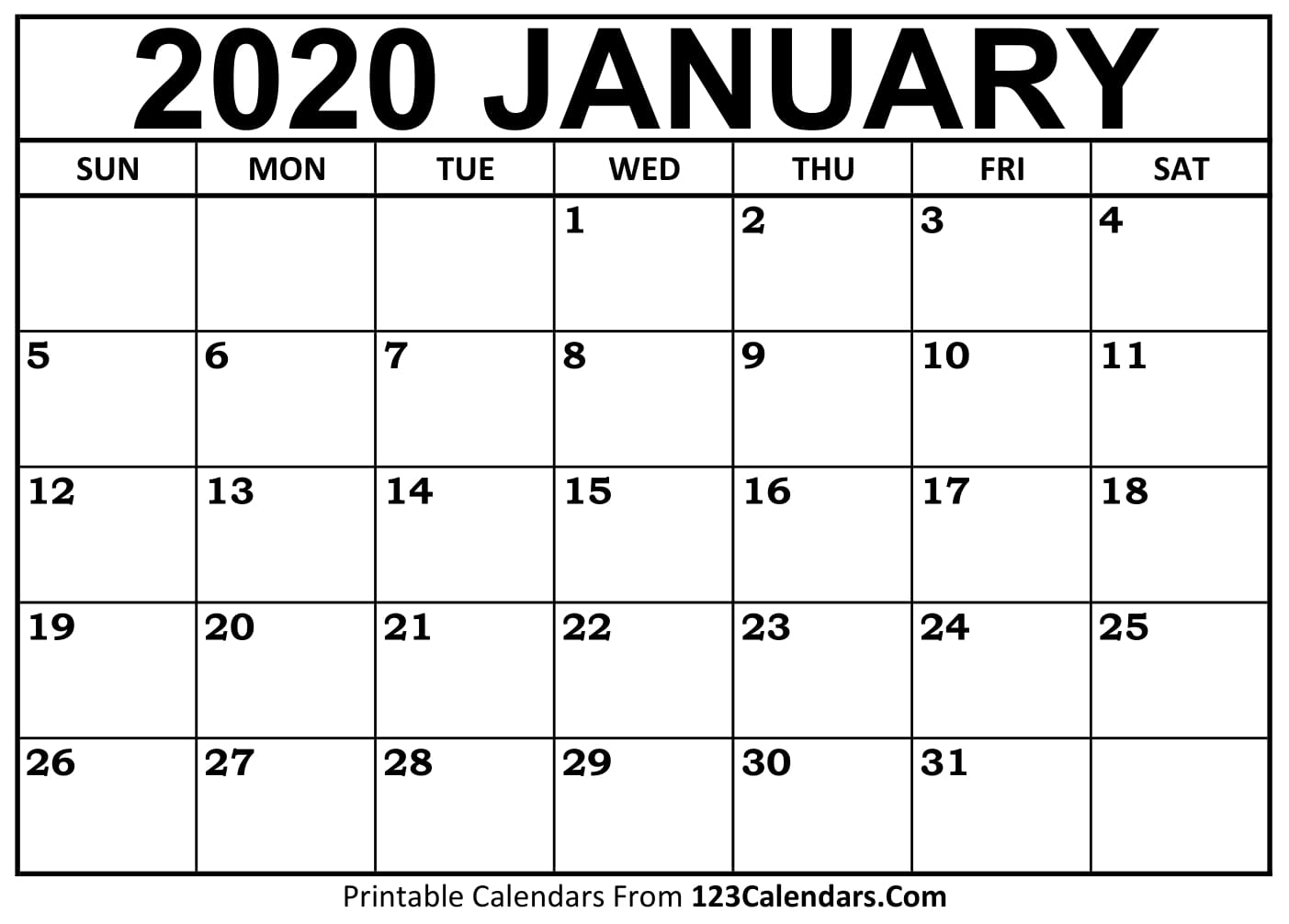 January 2020 Printable Calendar | 123Calendars intended for 123 Calendar January 2020