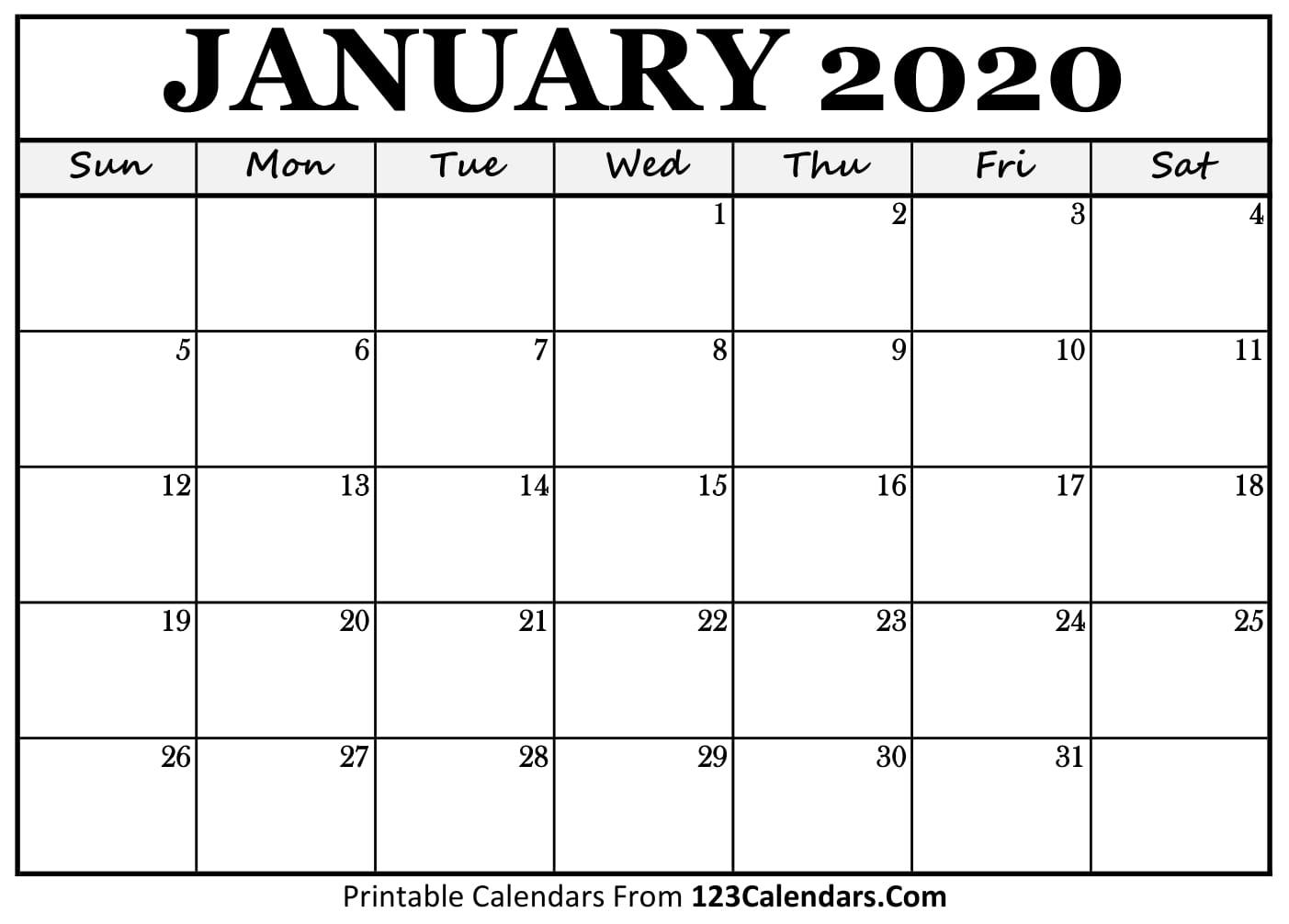 January 2020 Printable Calendar | 123Calendars intended for Jan 2020 Printable Calendar