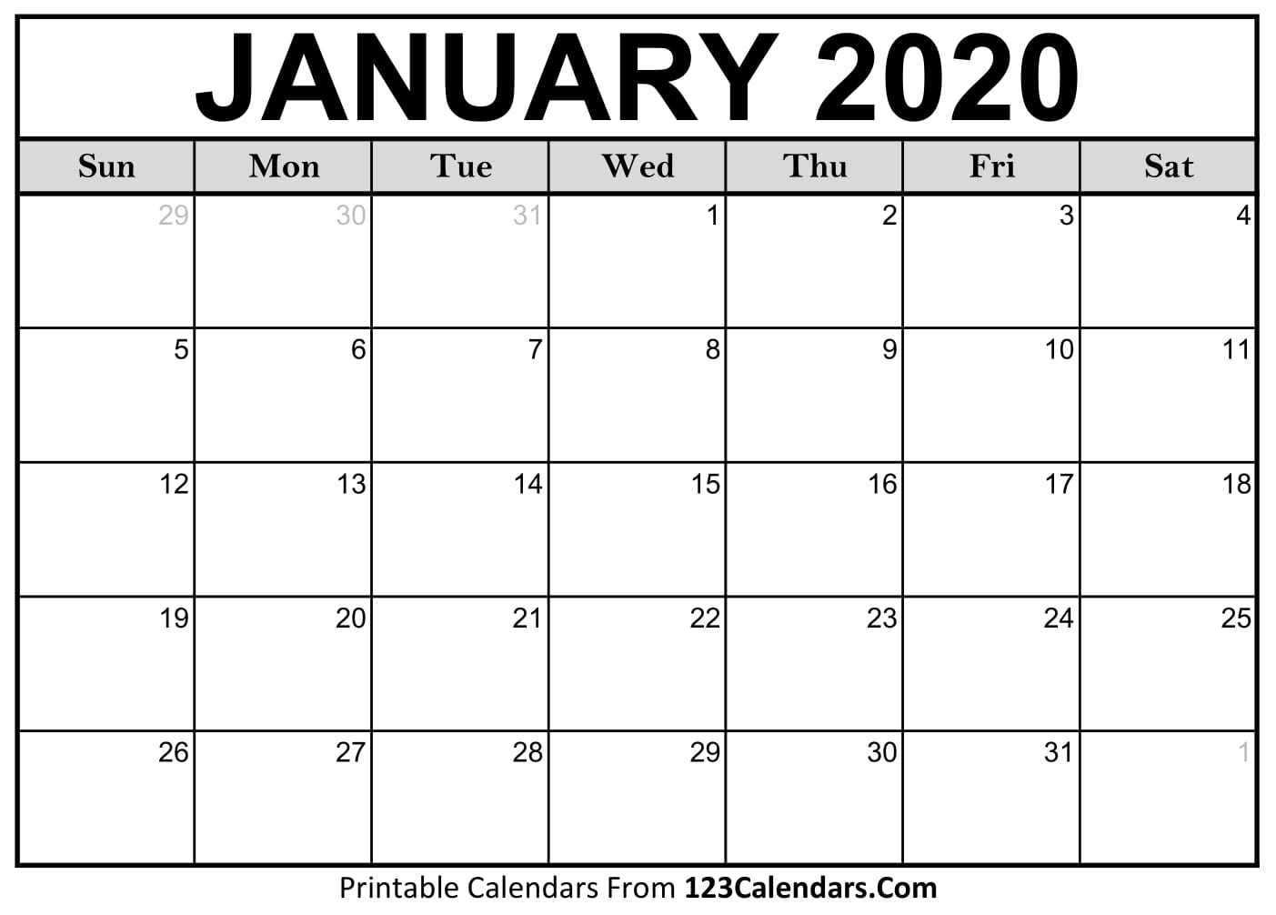 January 2020 Printable Calendar | 123Calendars pertaining to 123 Calendars January 2020