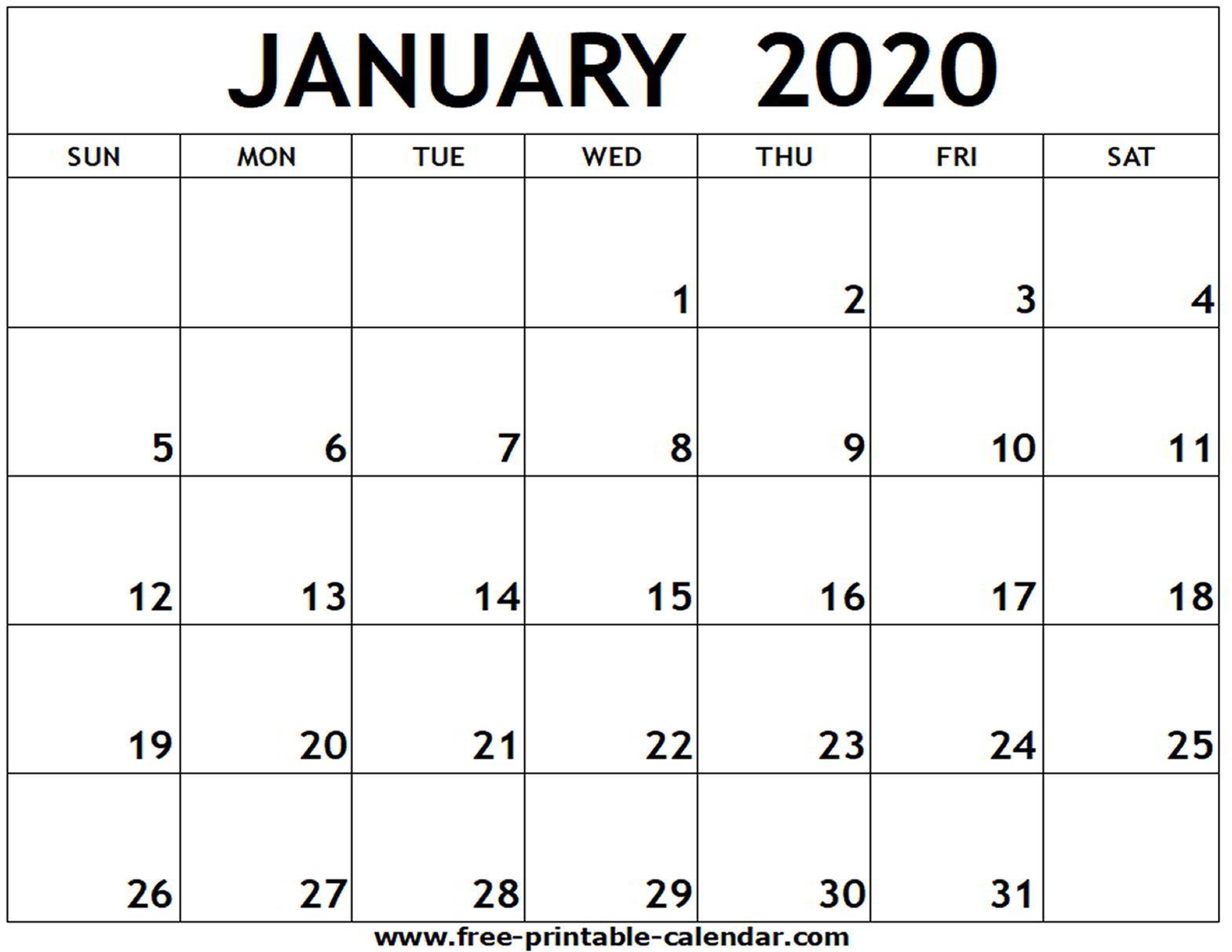 January 2020 Printable Calendar  Freeprintablecalendar in Michel Zbinden December 2020