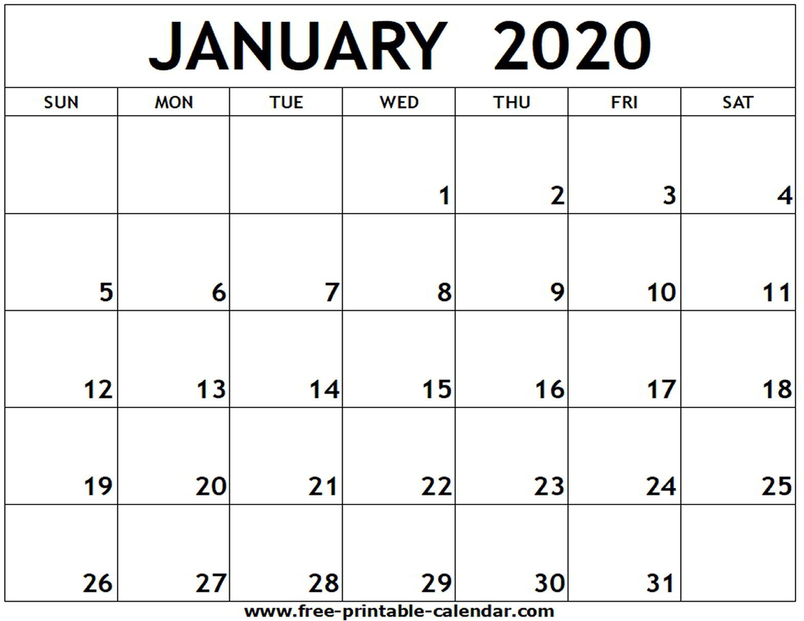 January 2020 Printable Calendar  Freeprintablecalendar throughout January 2020 Printable Calendar