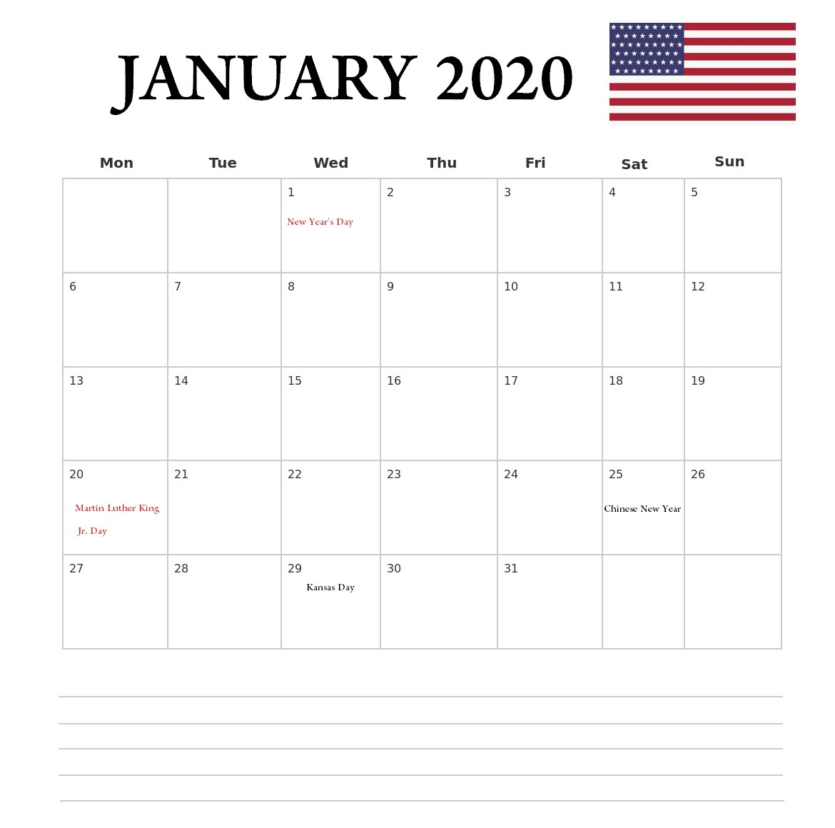January 2020 Printable Calendar | Latest Calendar throughout Show Calendar For January 2020