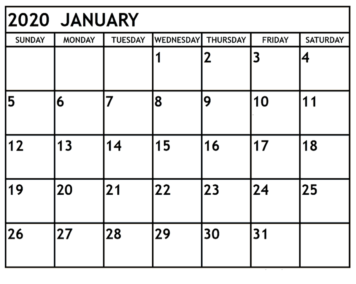 January 2020 Printable Calendar Monthly | 12 Month Printable intended for Blank January Calendar 2020