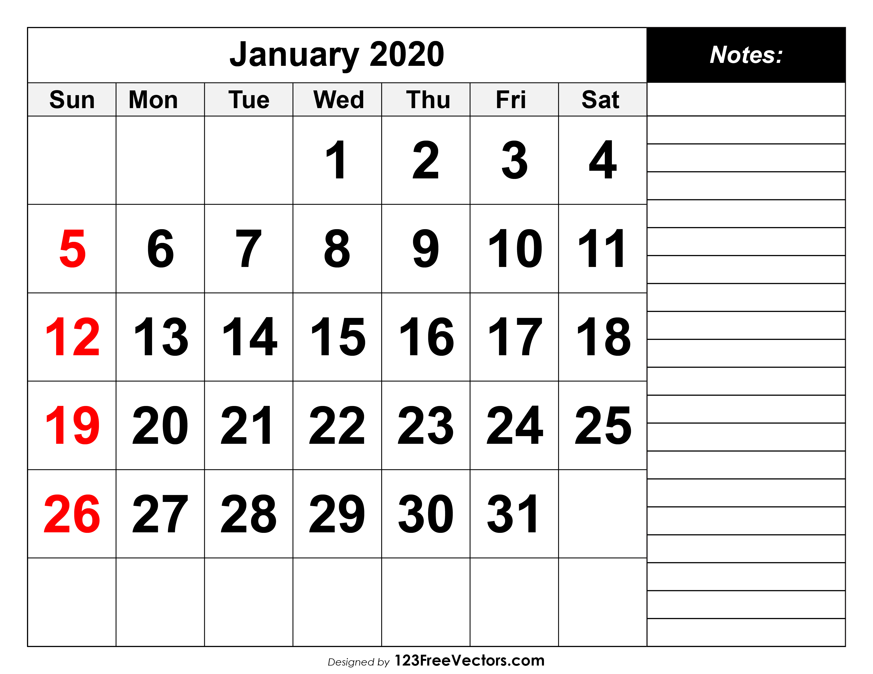 January 2020 Printable Calendar with 123 Calendar January 2020