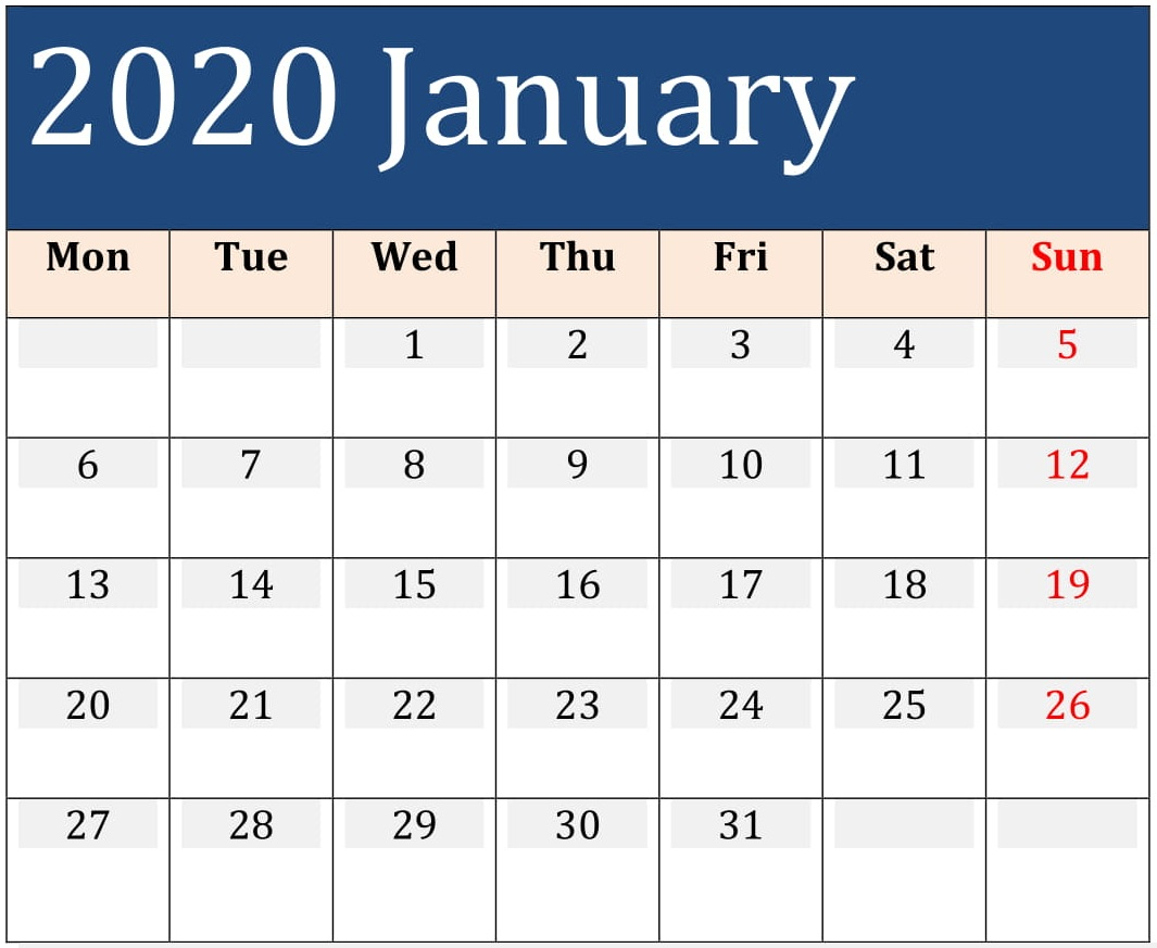 January 2020 Printable Daily Calendar – Free Latest Calendar regarding Blank Daily Calendar With Time Slots