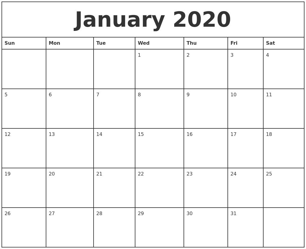 January 2020 Printable Monthly Calendar intended for Blank January Calendar 2020