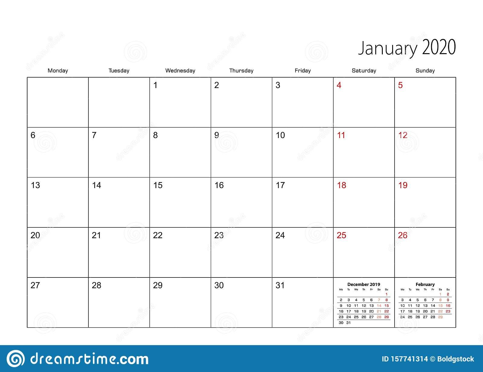 January 2020 Simple Calendar Planner, Week Starts From for 2020 Calendar Template Monday Start