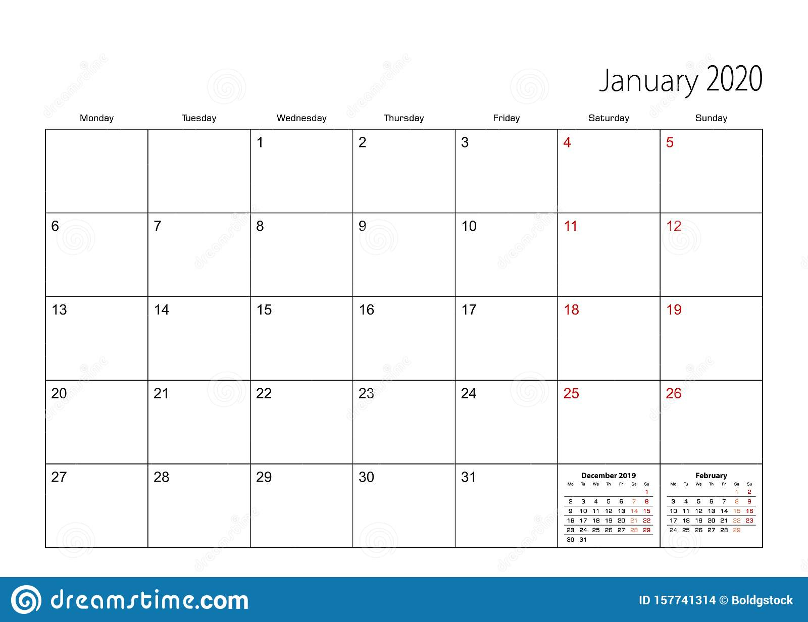 January 2020 Simple Calendar Planner, Week Starts From intended for January 2020 Calendar Starting Monday