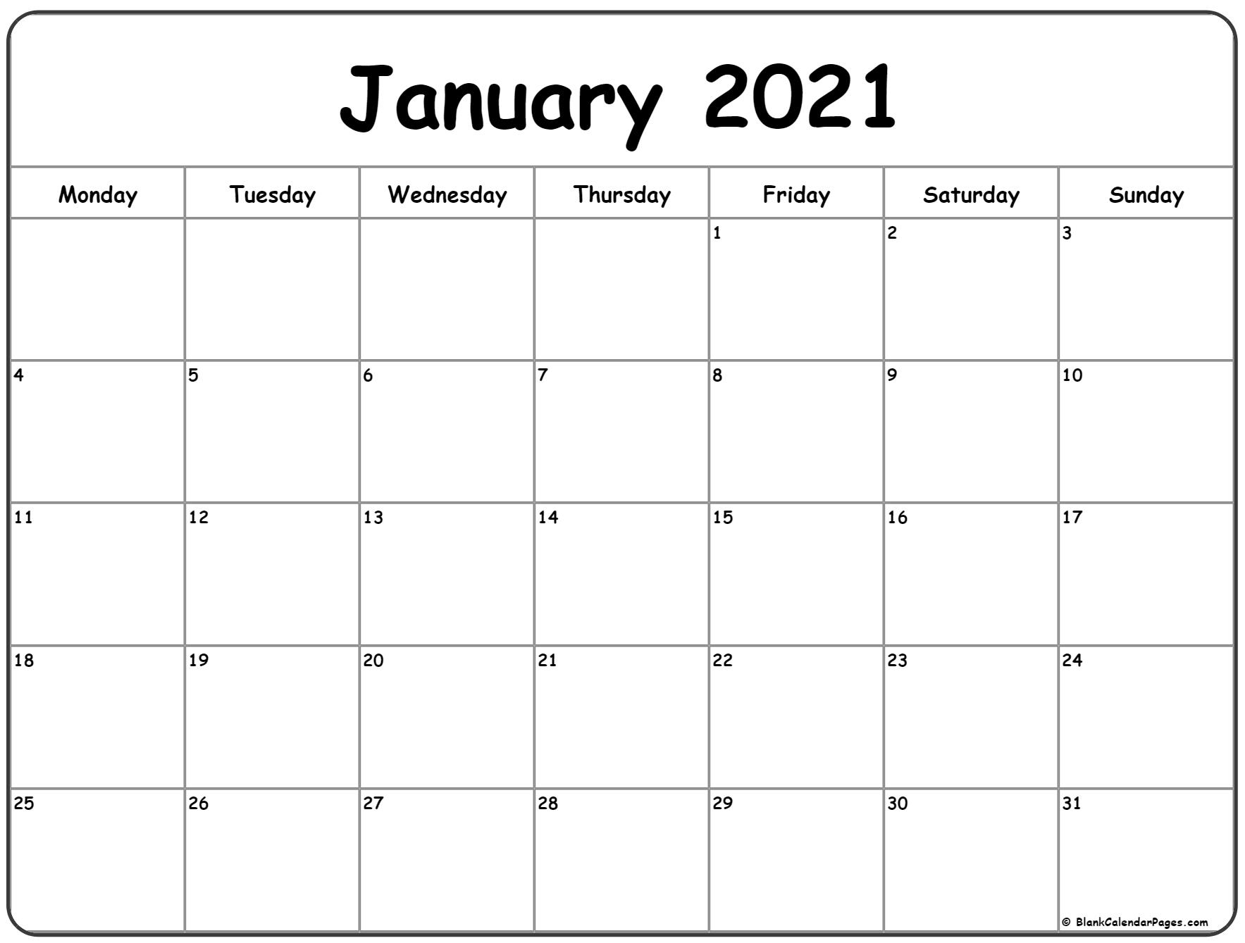 January 2021 Monday Calendar | Monday To Sunday intended for Monday Through Friday Blank Calendar