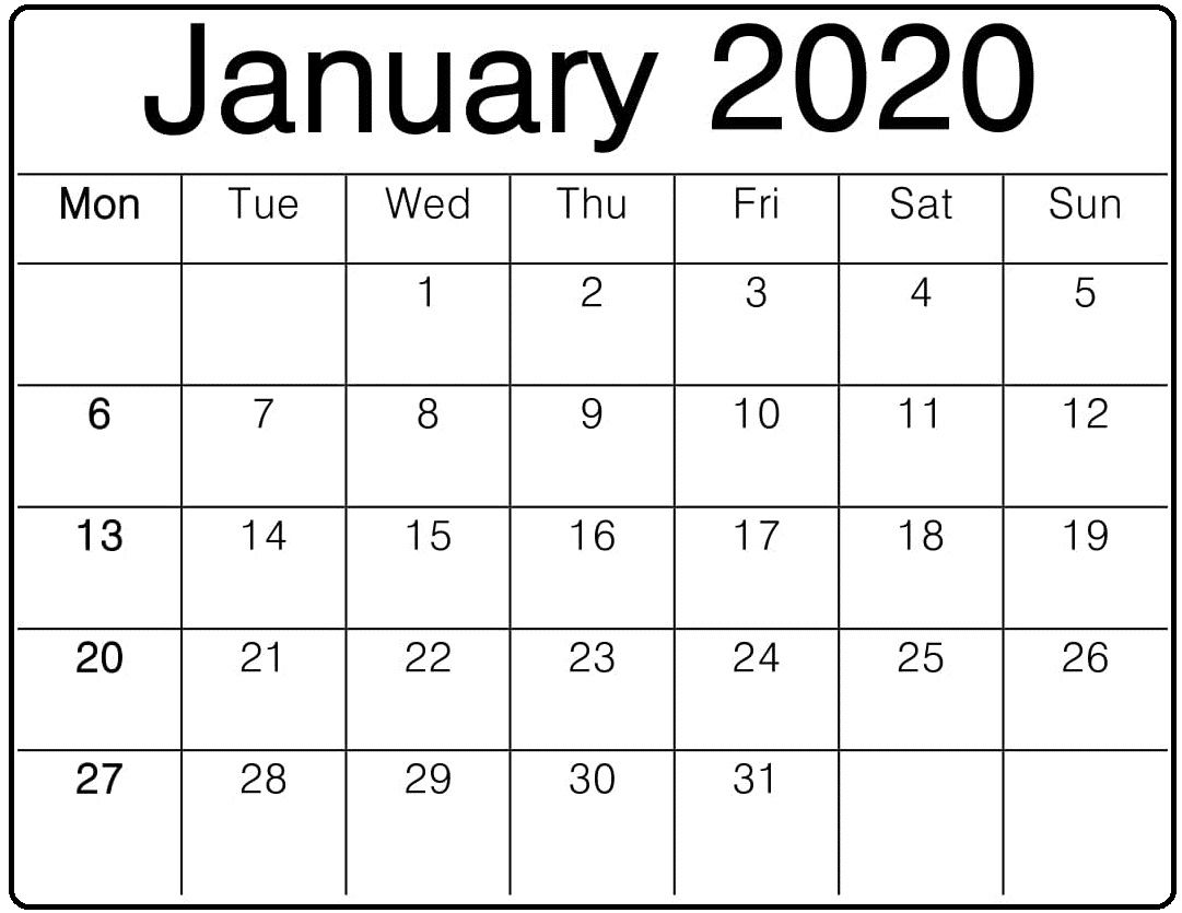 January Calendar 2020 Editable – Free Latest Calendar & Holidays throughout Studyblr Calendar 2020