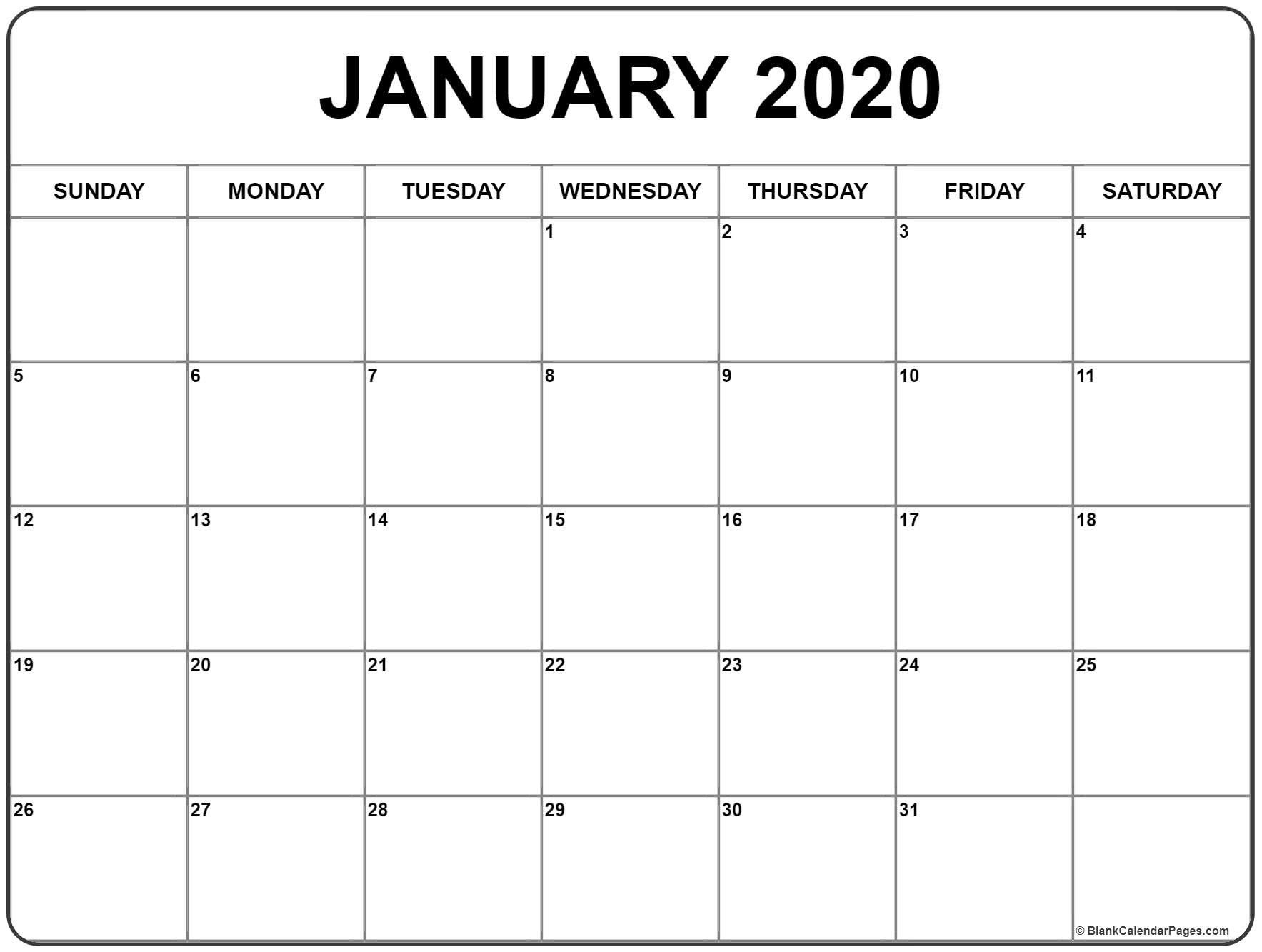 January Calendar 2020 Template  Yatay.horizonconsulting.co intended for Blank Calendar 2020 Printable