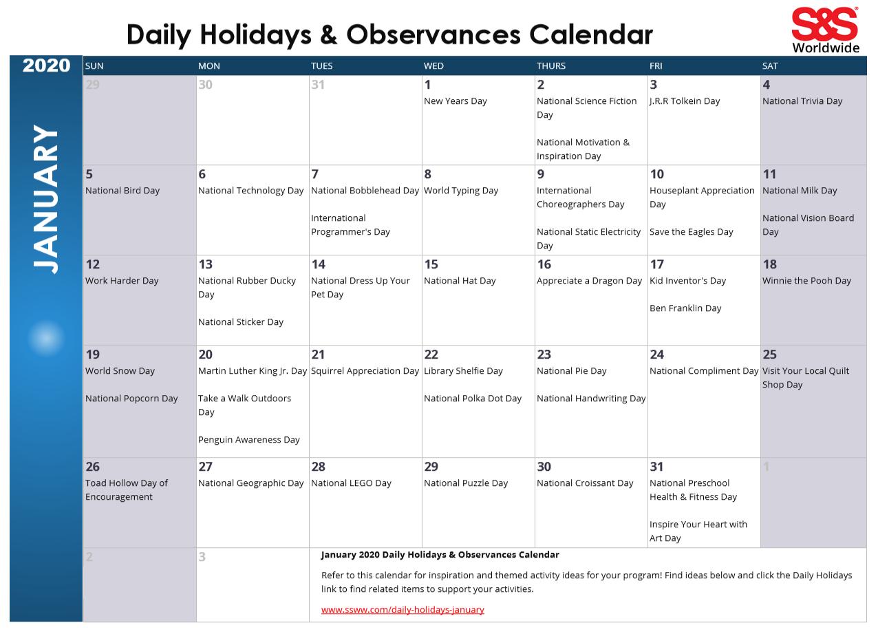 January Daily Holidays & Observances Printable Calendar with regard to January 16 Holidays & Observances