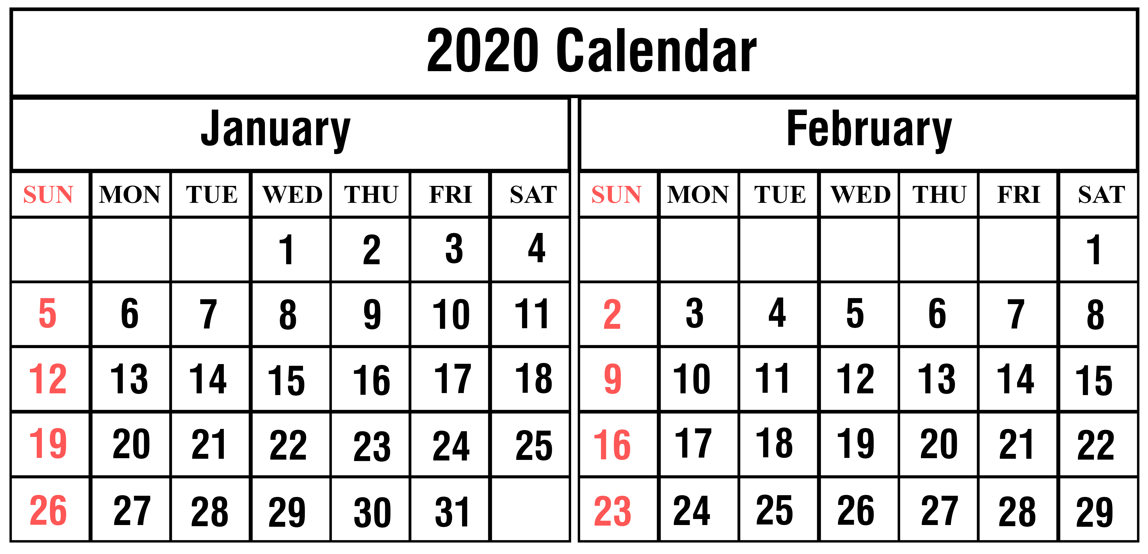 January February 2020 Calendar Daily Calendar Printable | 12 throughout February 2020 Daily Calendar