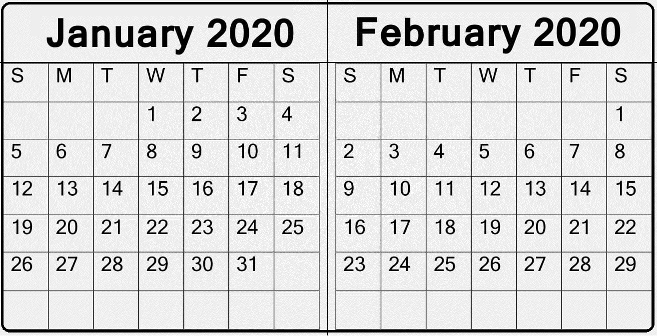 January February 2020 Calendar — Make A Plan For Two Month with regard to 123 Calendar January 2020