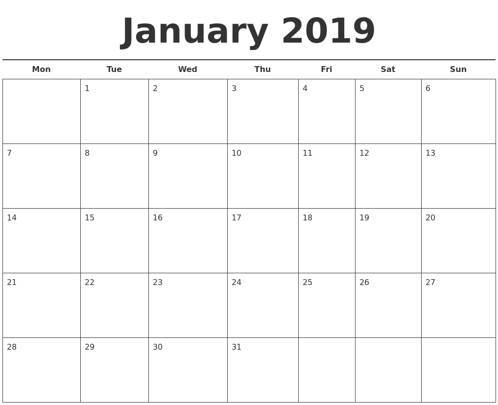January Month Calendar 2019 Printable Template | Excel inside Printable Monthly Calendar