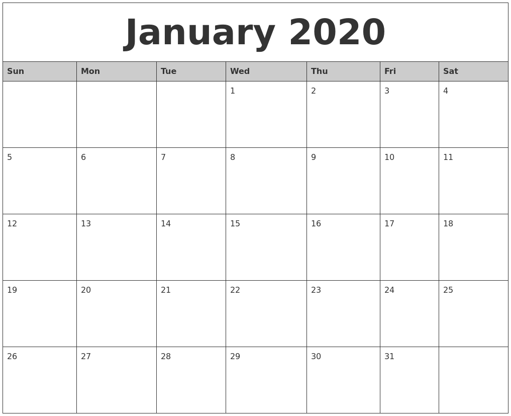 January Monthly Calendar 2020  Bolan.horizonconsulting.co for 3 Month Calendar 2020 Excel