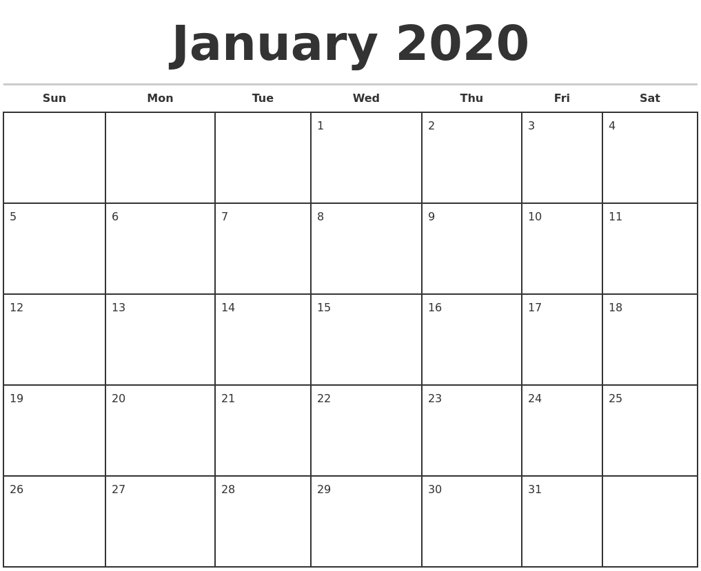 January Monthly Calendar 2020  Bolan.horizonconsulting.co regarding Monthly Calendar 2020 Printable
