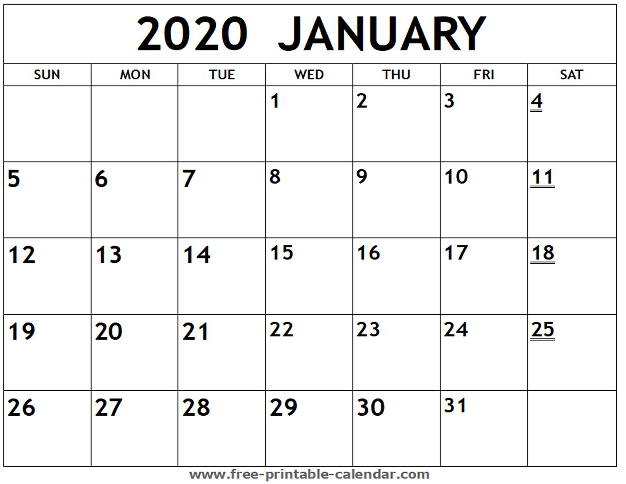 January Monthly Calendar 2020  Bolan.horizonconsulting.co regarding Printable Monthly Calendar