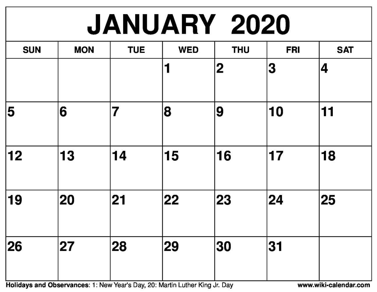 January Monthly Calendar 2020  Bolan.horizonconsulting.co within Calendar 2020 January