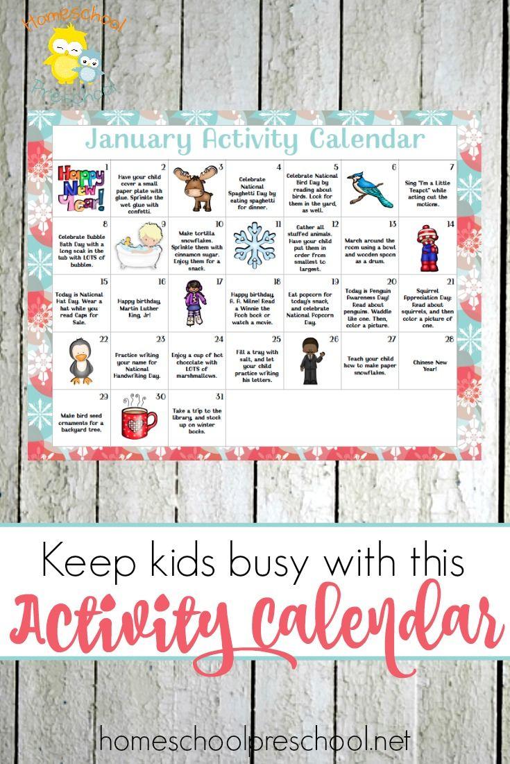 January Preschool Activity Calendar | Preschool Learning intended for Uti School Calendar