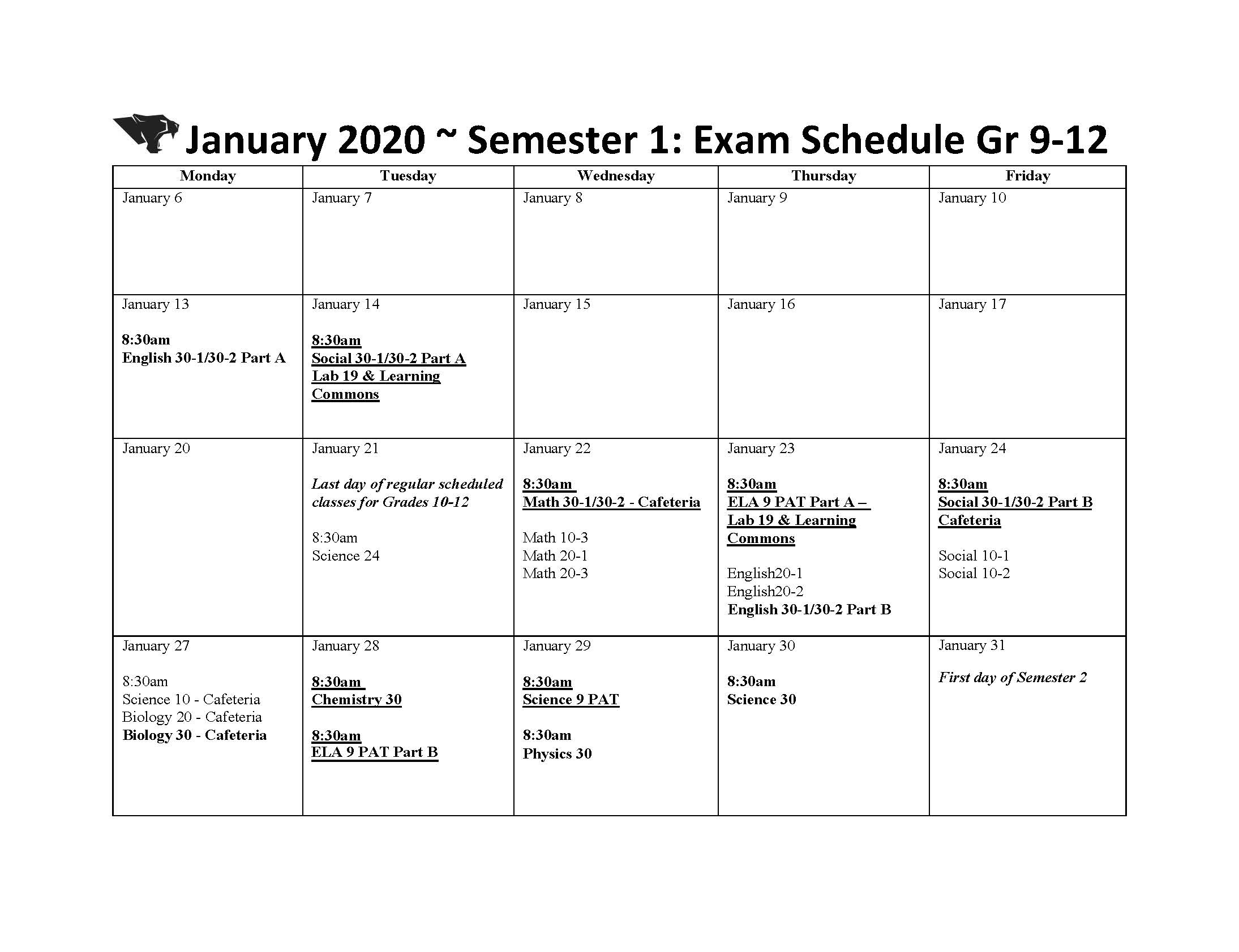 January Semester 1 Exam Schedule | Vegreville Composite High for Fr Haythorne Calendar