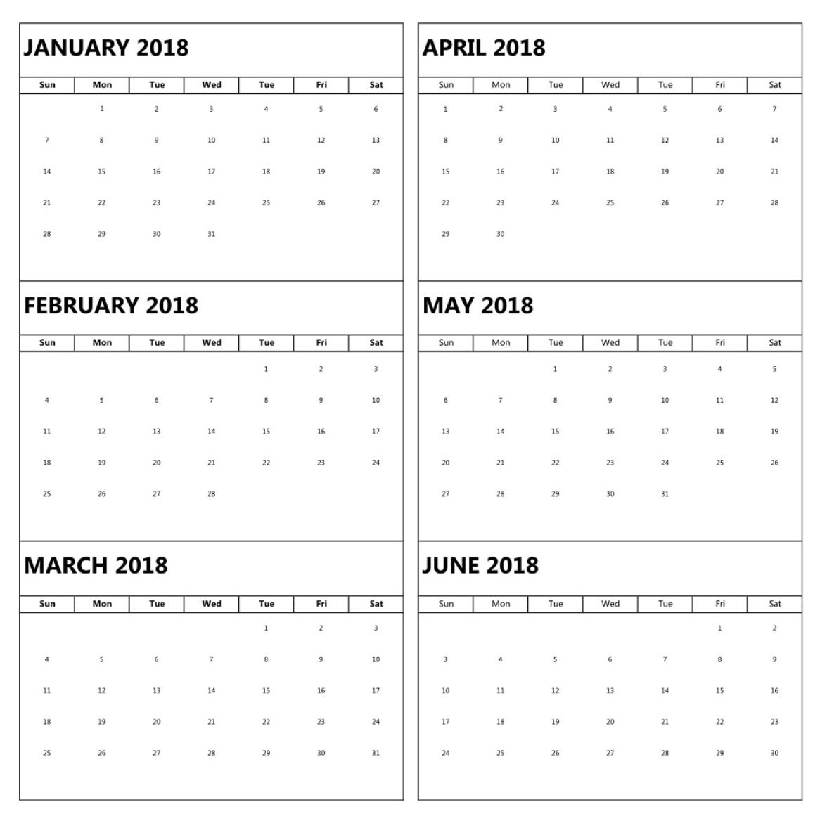 January To June 6 Months Calendar 2018 | Excel Calendar with 6 Month Calendar Printable