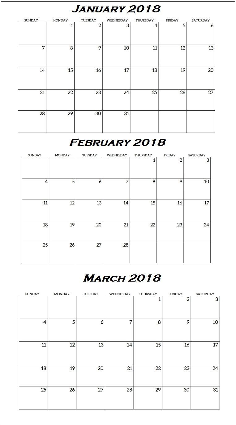 January To March 2018 Quarterly Calendar | Quarterly throughout Quarterly Calendar Template
