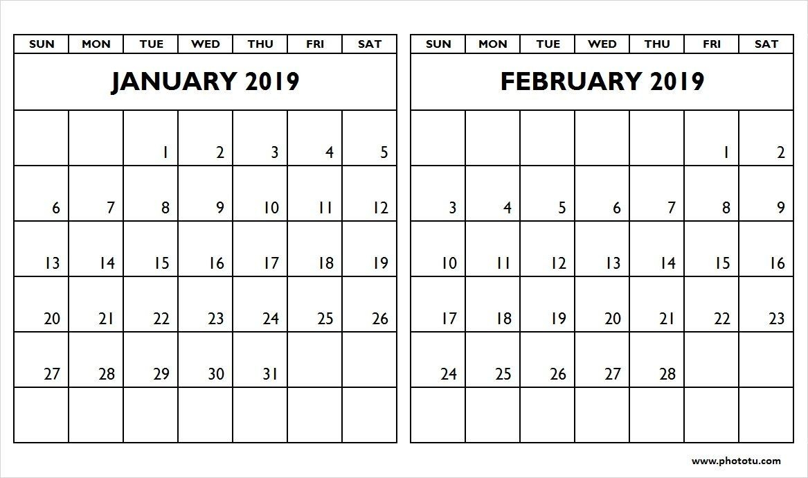 Januaryfebruary2019Twomonthcalendar – Phototu In for Two Month Calendar Template