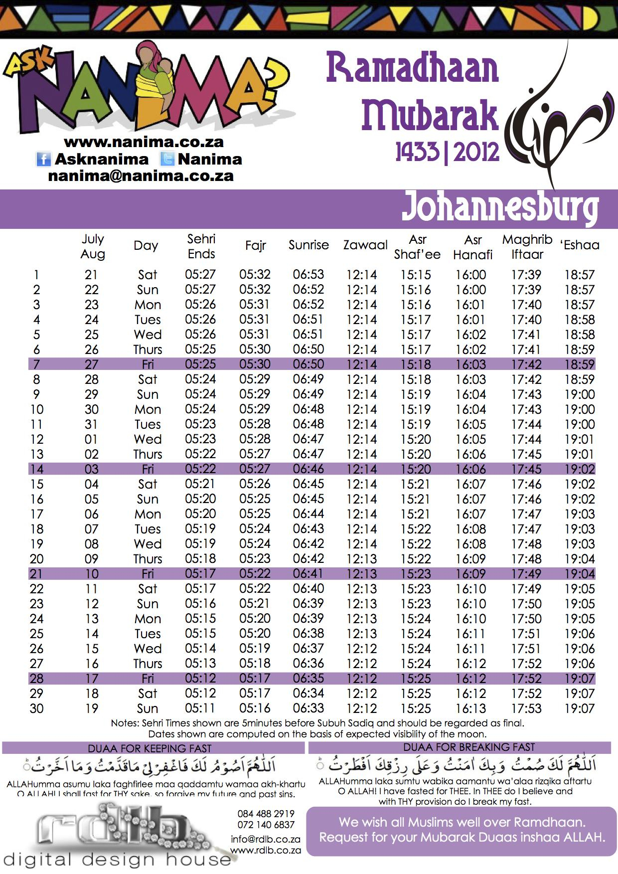 Johannesburg Ramadan Timetable 2012 1433 | Ask Nanima? throughout Ramadan Time Table 2015