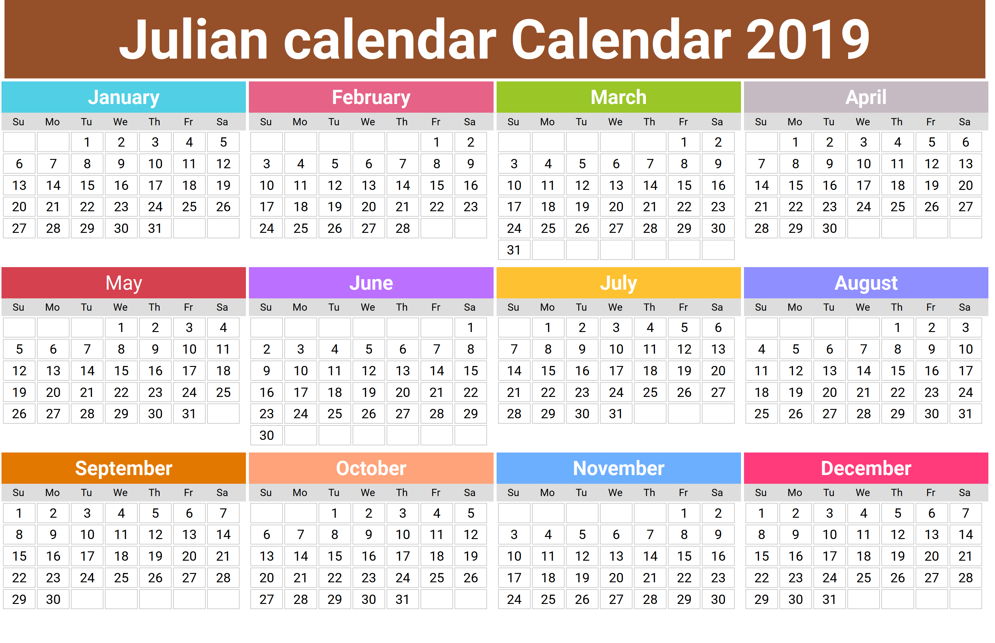 Julian Calendar 2018 – Printable Month Calendar with 2018 Julian Calendar