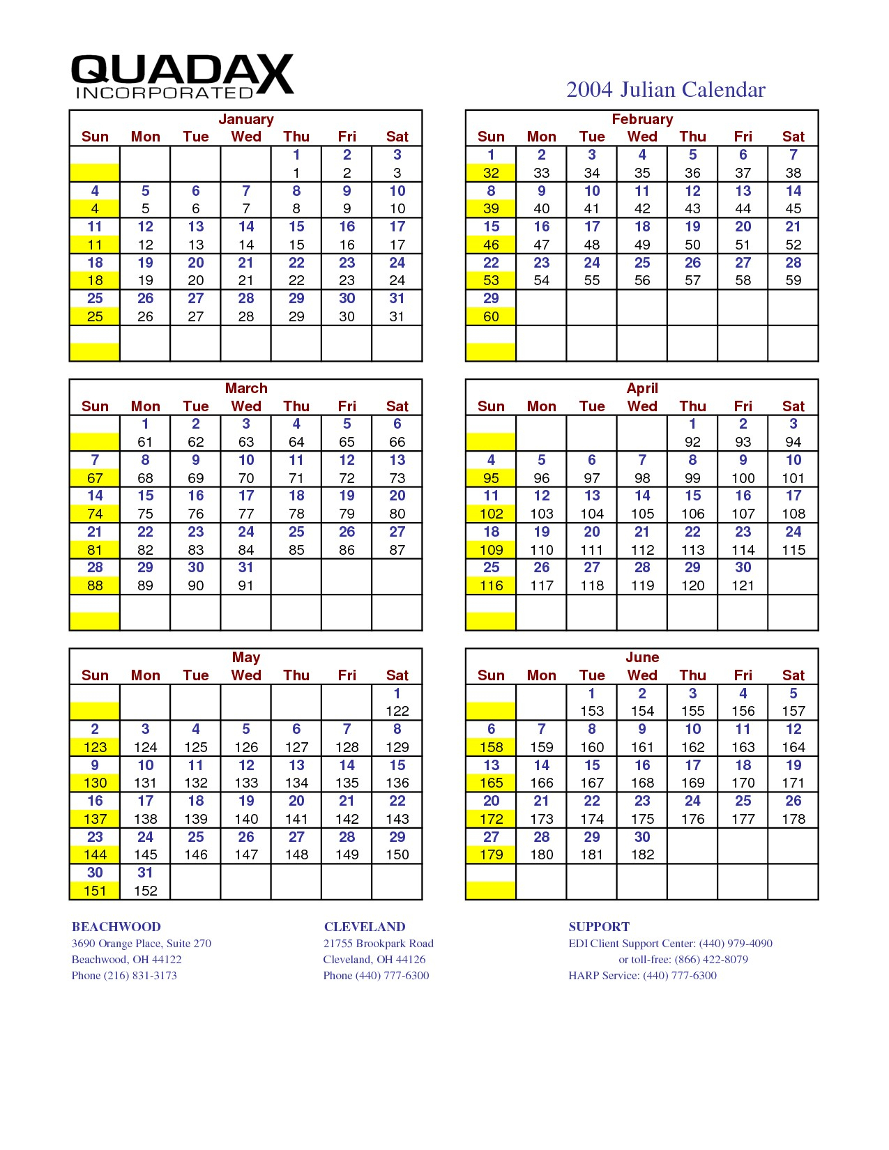 Calendario Juliano 2020 Quadax | Calendar for Planning
