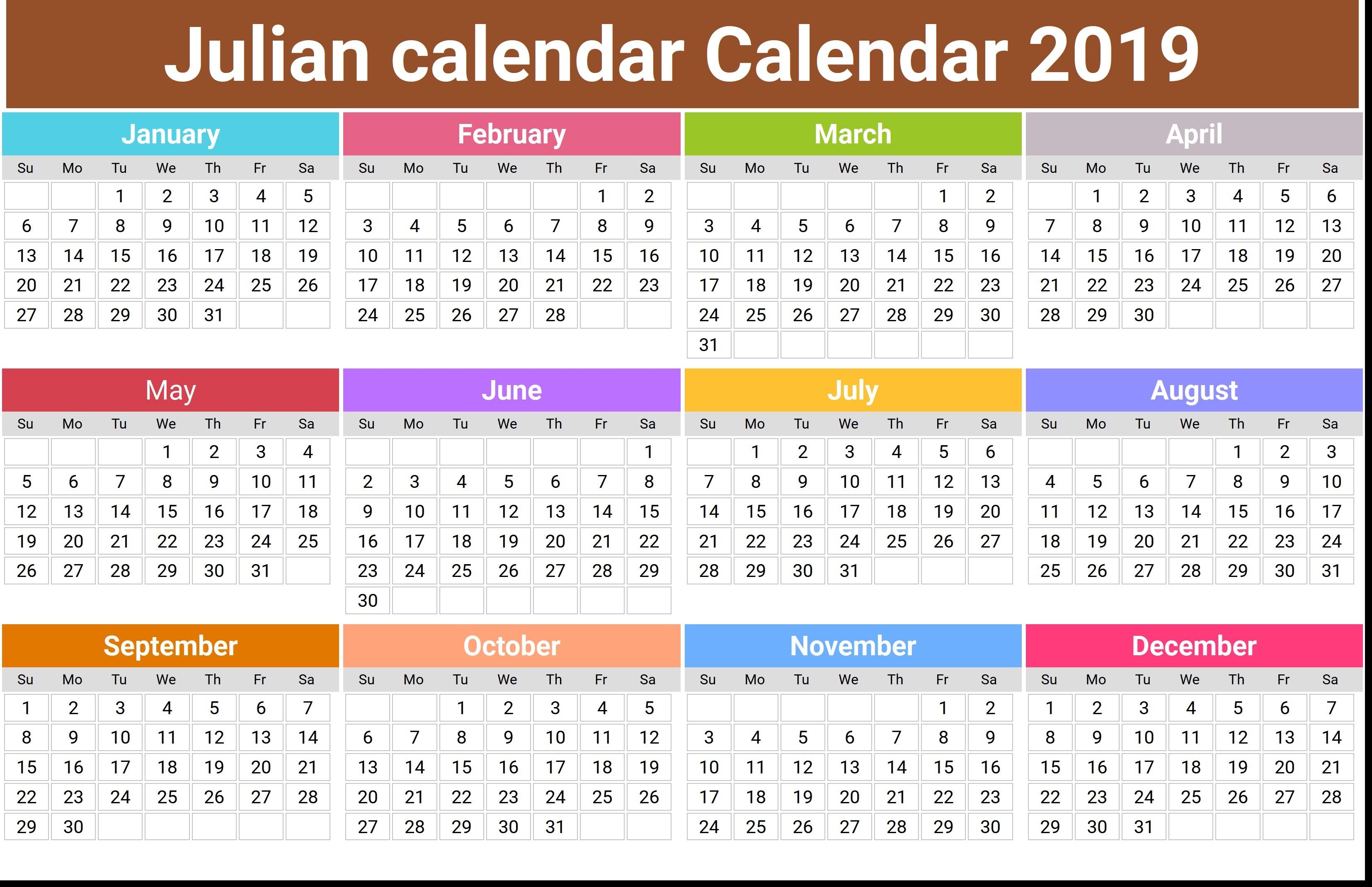 Julian Calendar 2020  Erira.celikdemirsan within Printable Julian Date Calendar