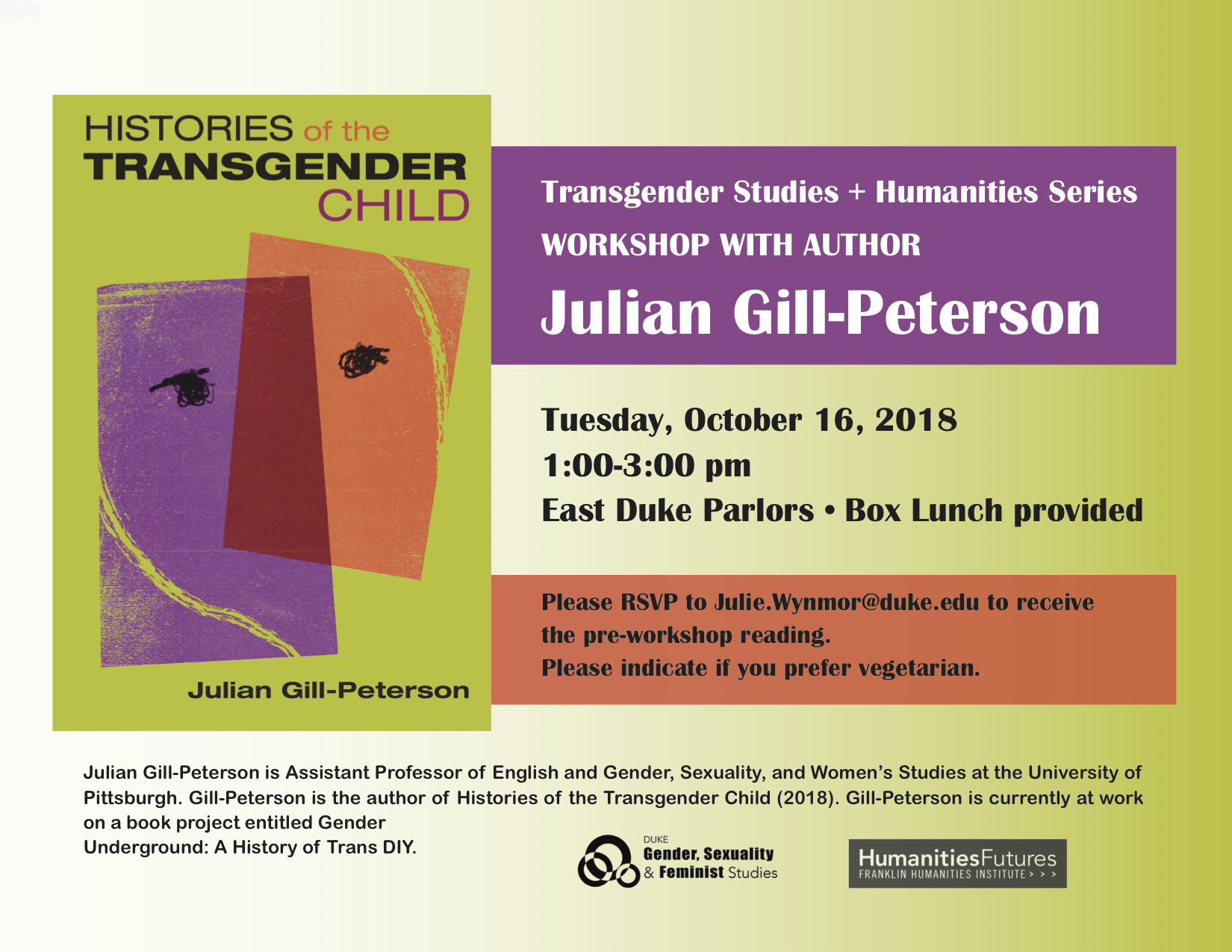 "Julian Gill, ""histories Of The Transgender Child""  Franklin inside Today's Julian Date 2018"