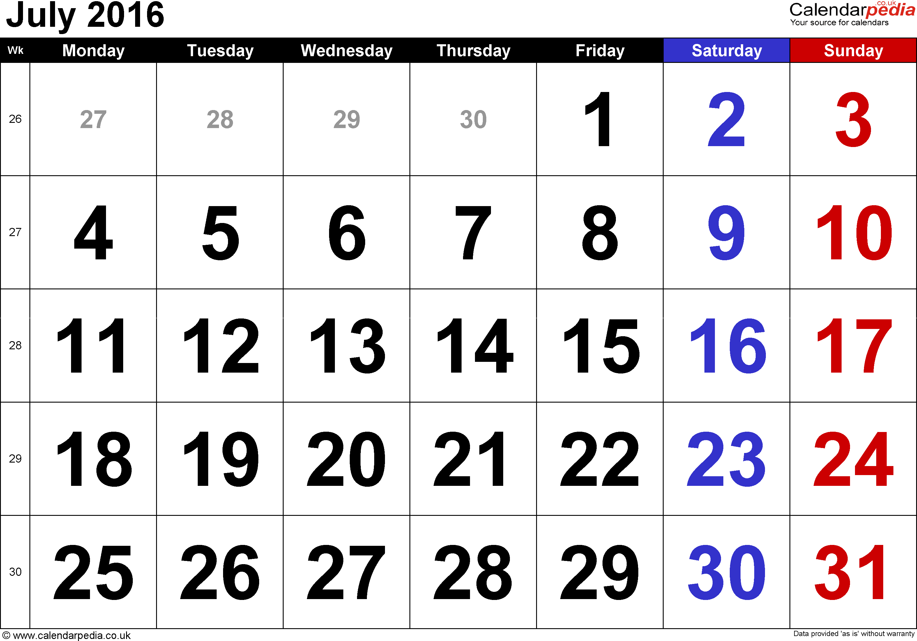 July 2016 Calendar In Word #july2016Calendar #june2016Word with July 2016 Calendar With Holidays