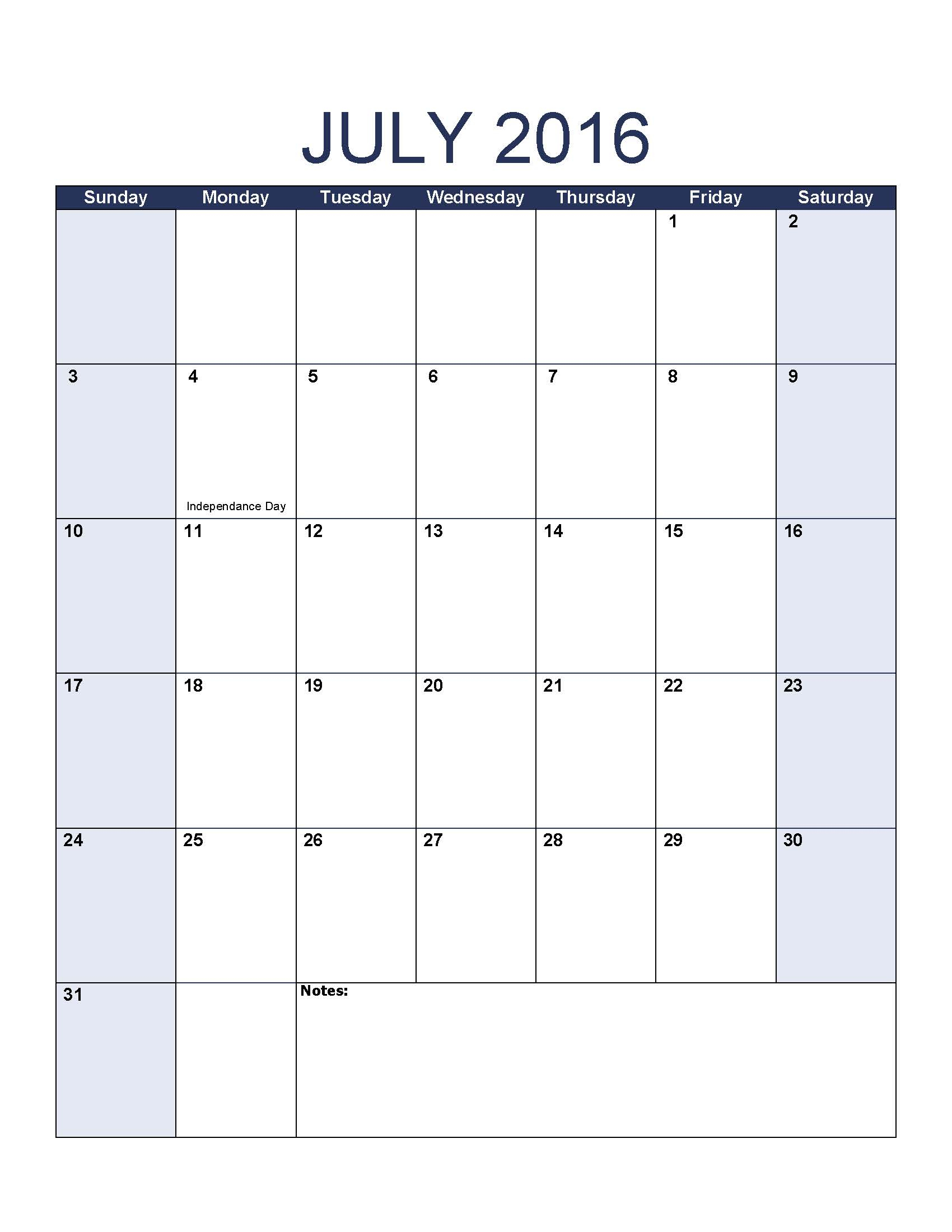 July 2016 Calendar Template within July 2016 Calendar With Holidays