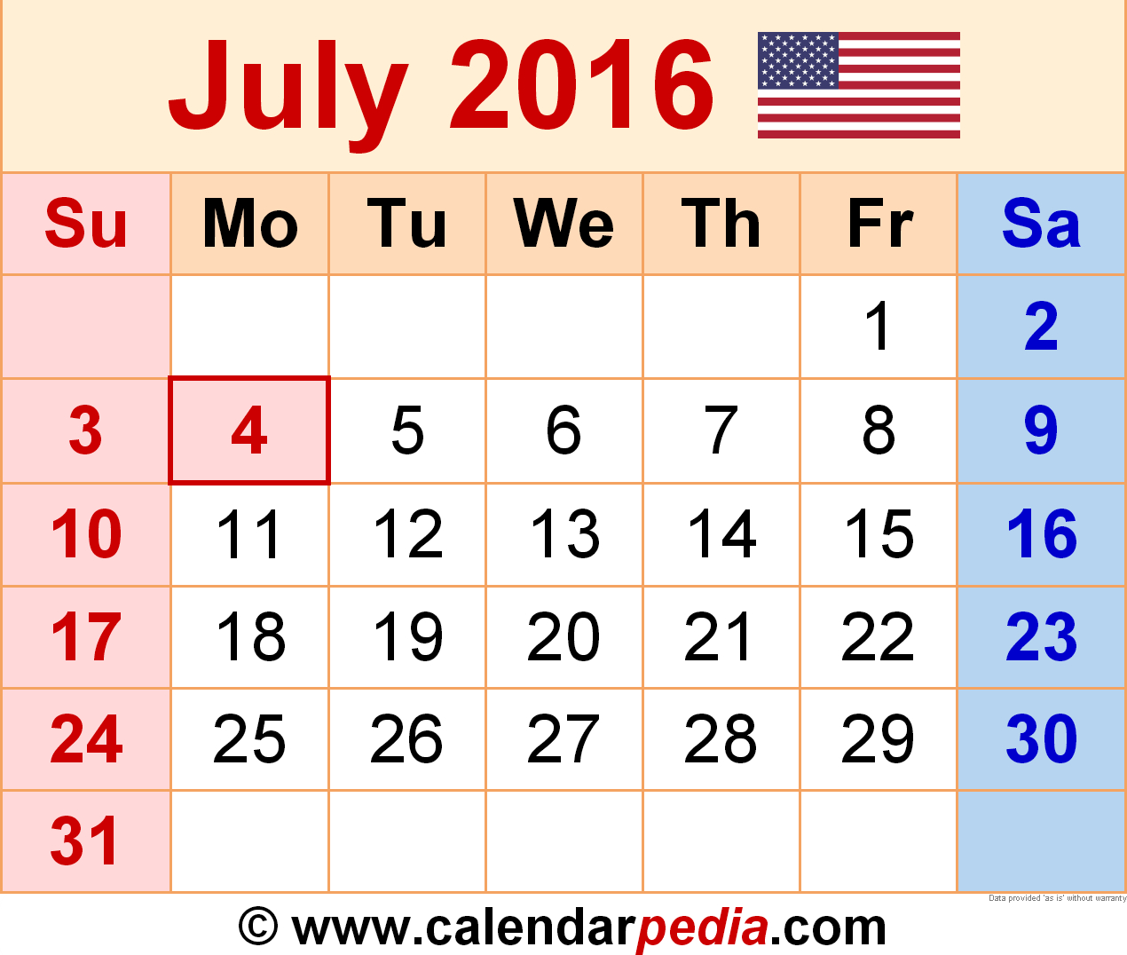 July 2016  Calendar Templates For Word, Excel And Pdf within July 2016 Calendar With Holidays