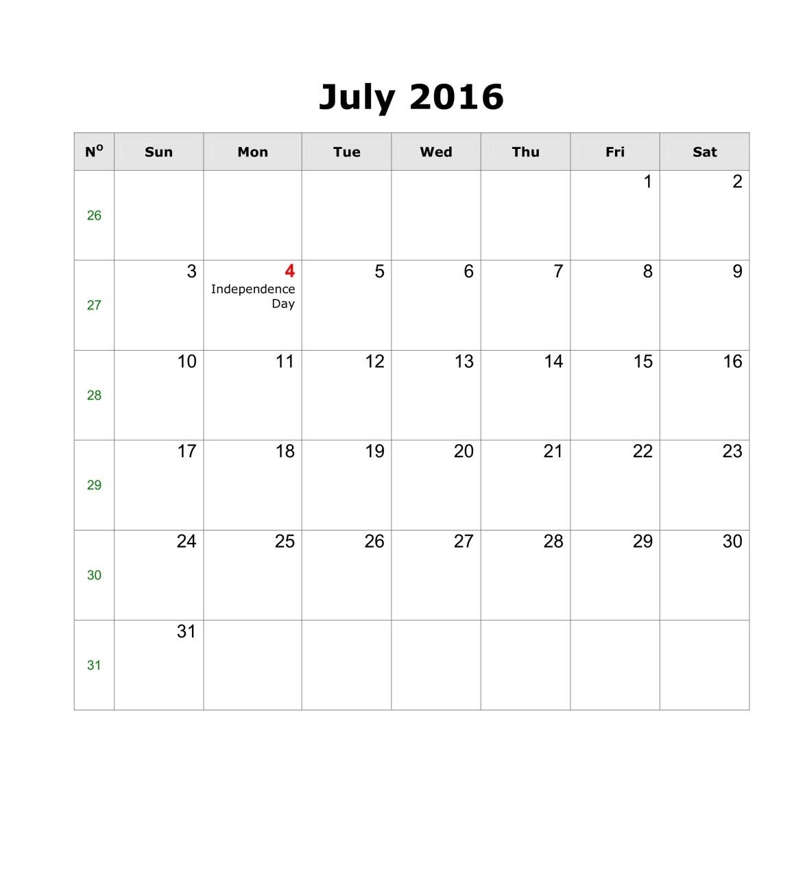 July 2016 Calendar #wordcalendar #calendartemplates for July 2016 Calendar With Holidays