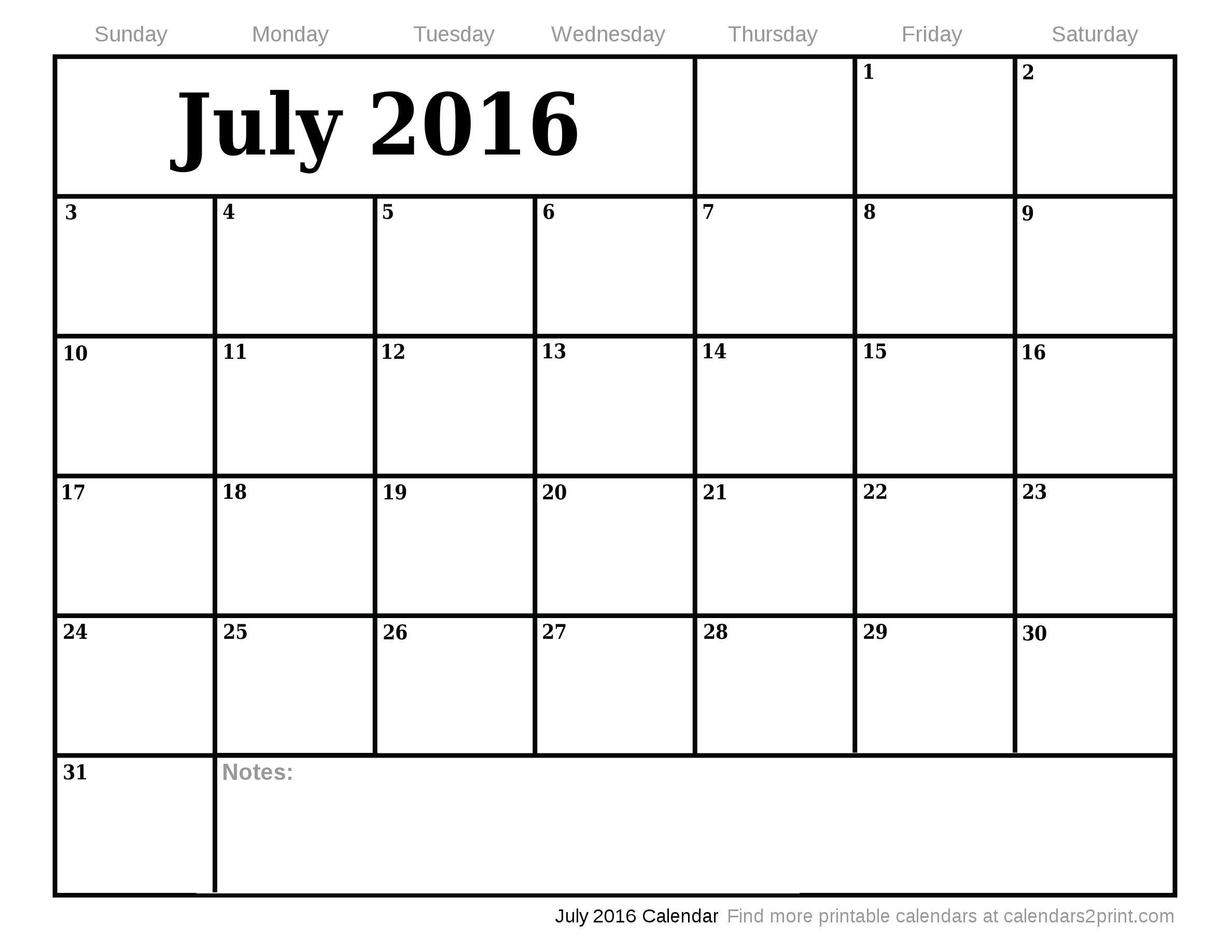 July 2016 Printable Calendar with July August 2016 Calendar