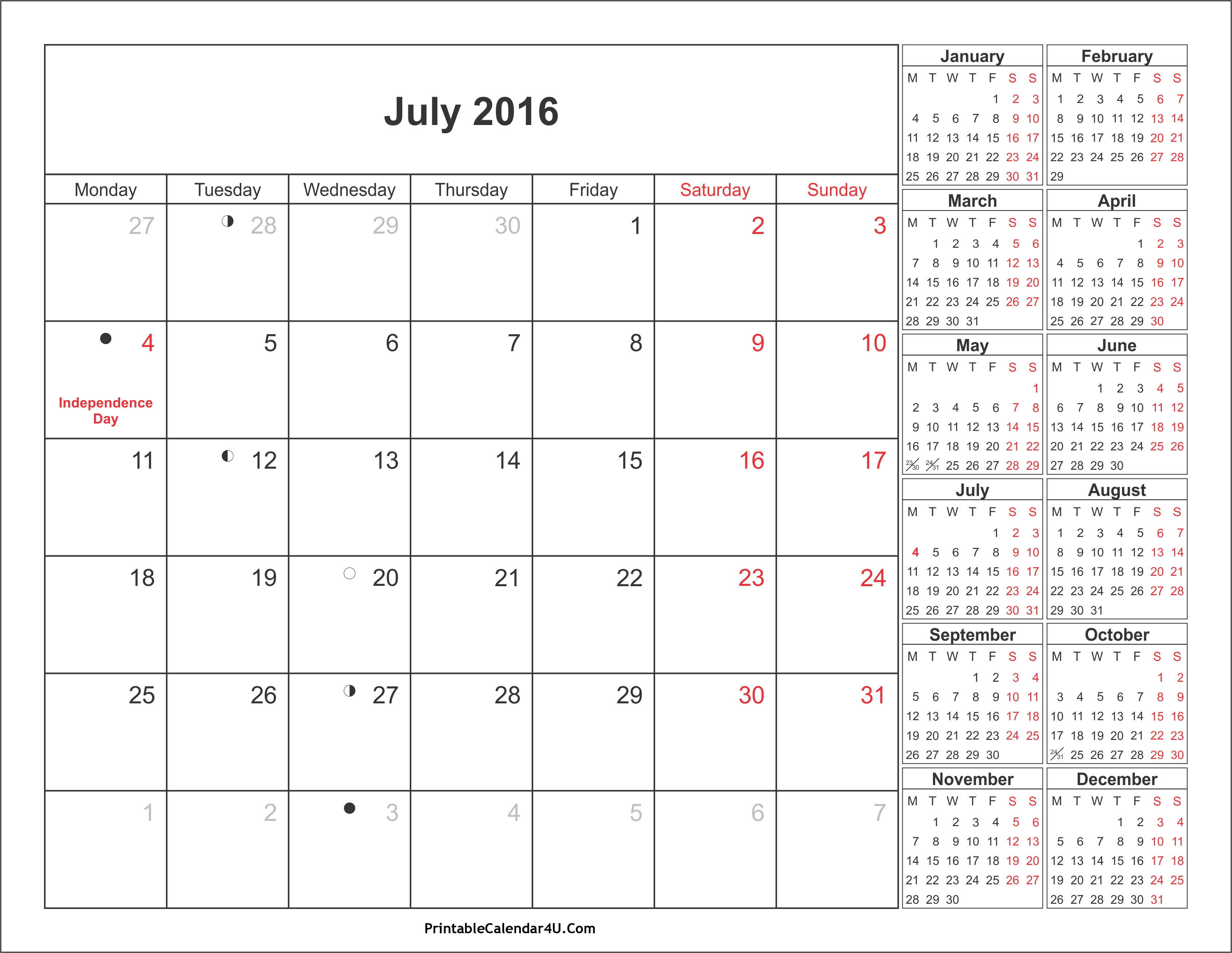 July 2019 Calendar With Holidays – Printable Month Calendar with July 2016 Calendar With Holidays