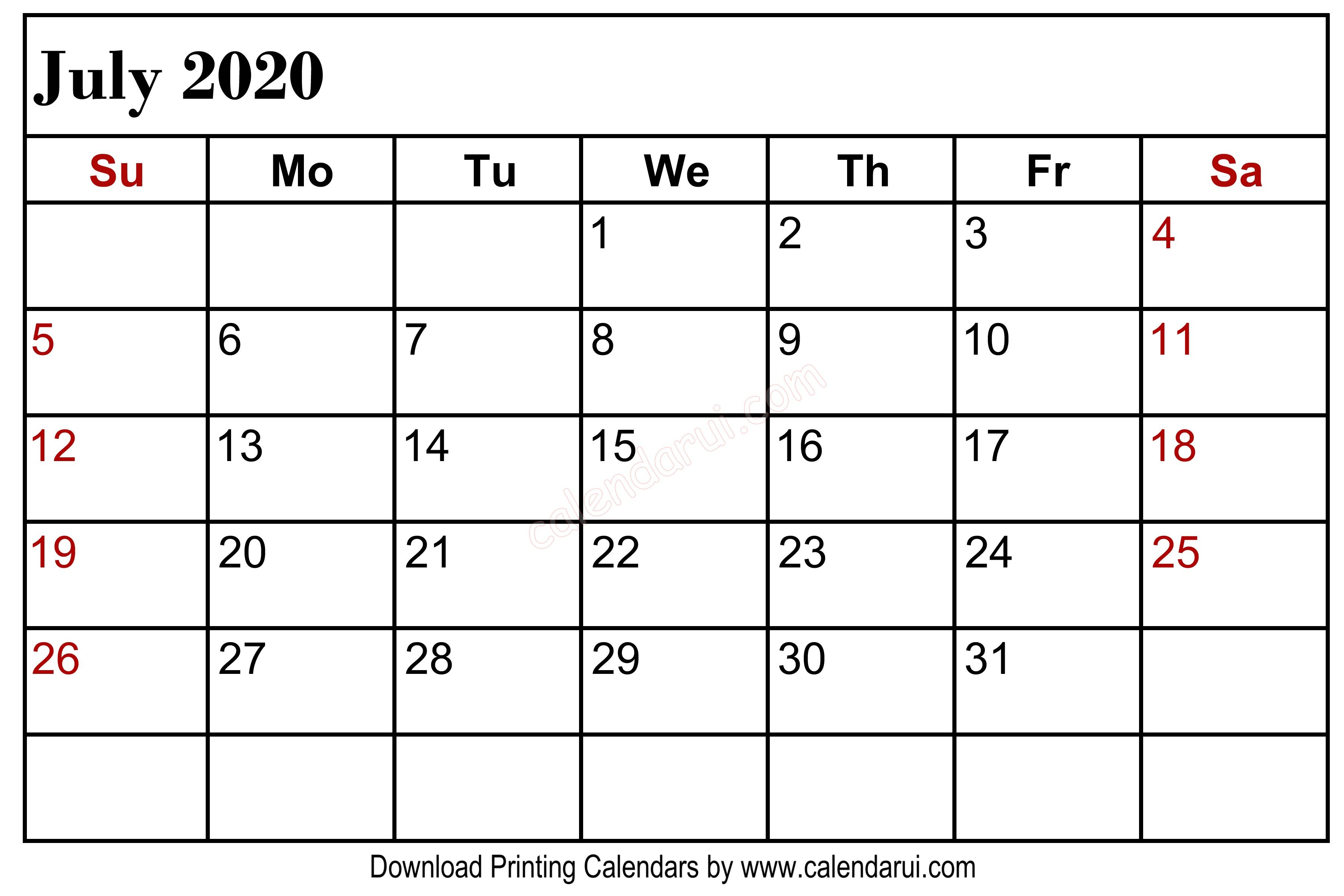 July 2020 Blank Calendar Printable Free Download 1 | Monthly for Monthly Calendar With Time Slots 2020