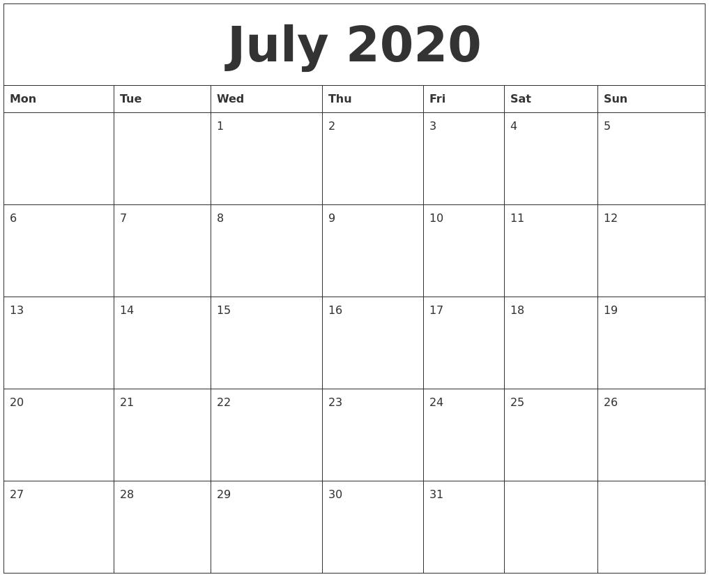 July 2020 Month Calendar Template regarding 2020 Calendar Template Monday Start