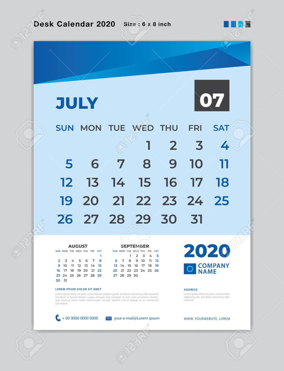 July 2020 Month Template, Desk Calendar For 2020 Year, Week Start.. with regard to July Of 2020