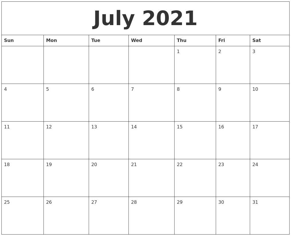 July 2021 Blank Schedule Template regarding Blank 30 Day Calendar Template