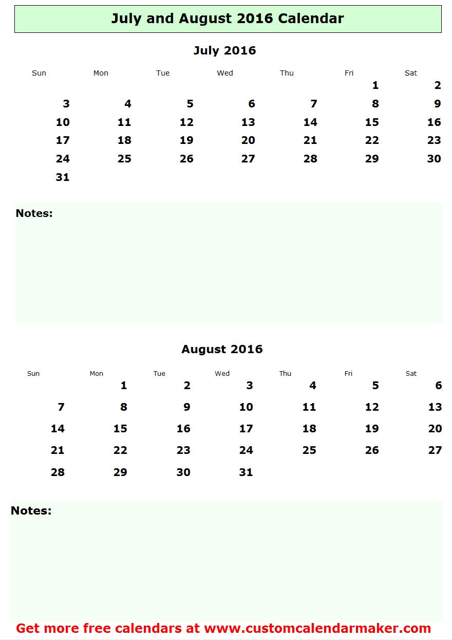 July And August 2016 Calendar, Free Printable Template within July August 2016 Calendar