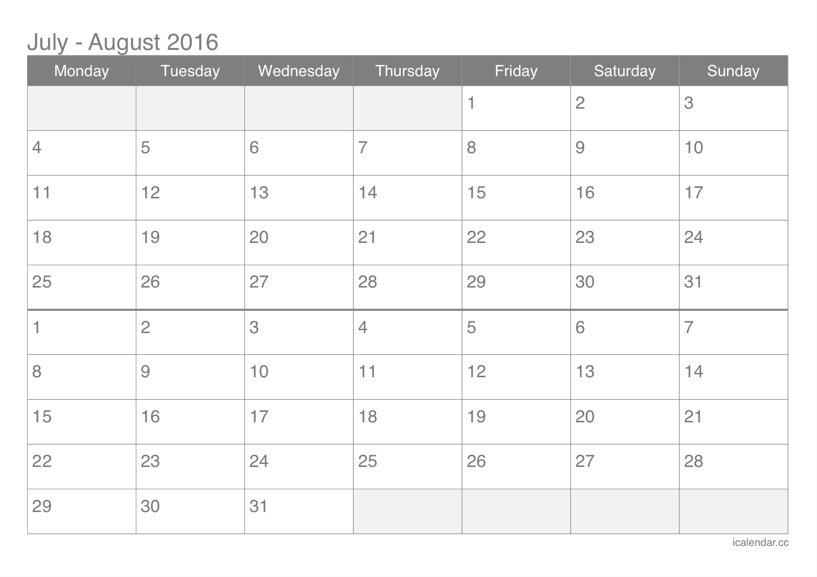 July And August 2016 Printable Calendar  Icalendars pertaining to July August 2016 Calendar
