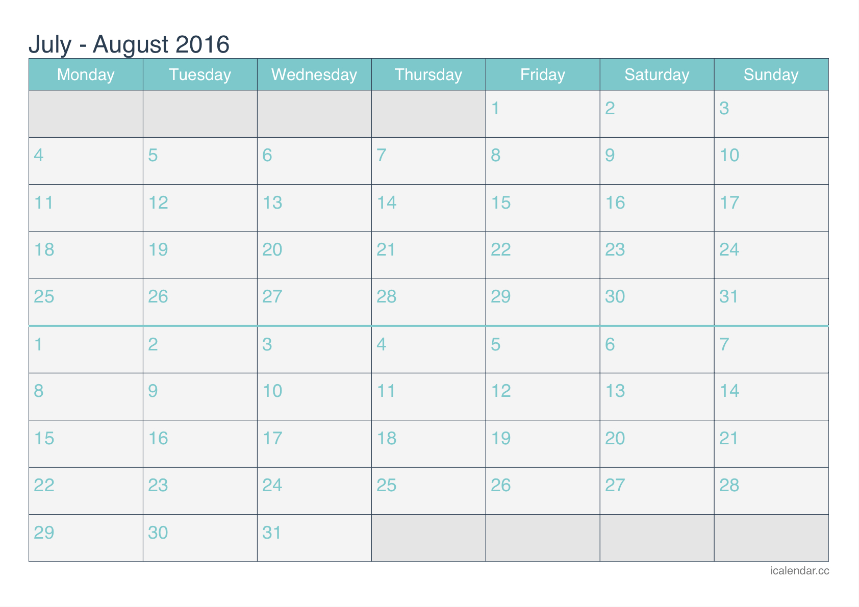 July And August 2016 Printable Calendar  Icalendars throughout July August 2016 Calendar