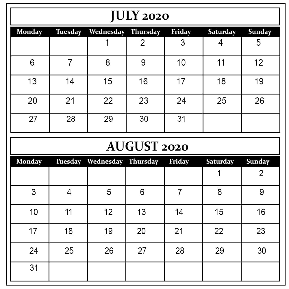 July And August 2020 Free Printable Calendar regarding July And August 2020 Calendar Printable